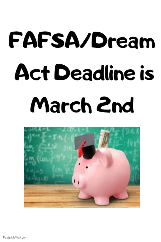 Seniors need to submit their financial aid application by Friday, February 23rd! Thumbnail Image