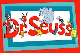 The word Dr Seuss - with Dr Seuss book characters all around