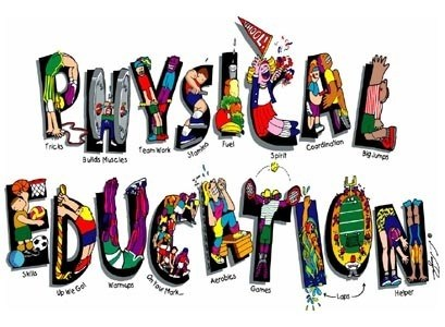 The words Physical Education spelled out by children's bodies.