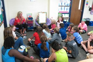 Ms. TerMeer and her class sit in a group to discuss the Constitution and revisit their own social contract for the rules of their classroom.
