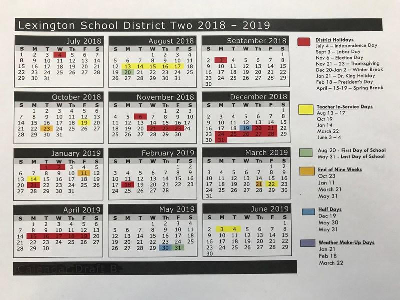 Lexington District Two 2018-2019 Calendar