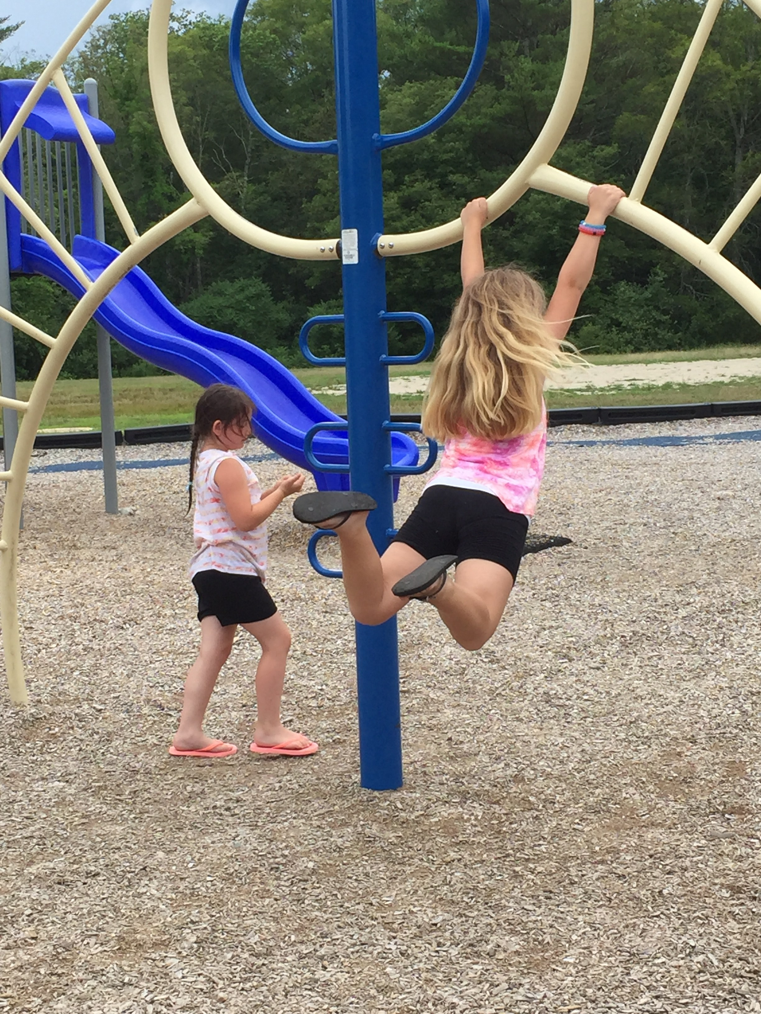 Children playing in the playground on the monkey bars