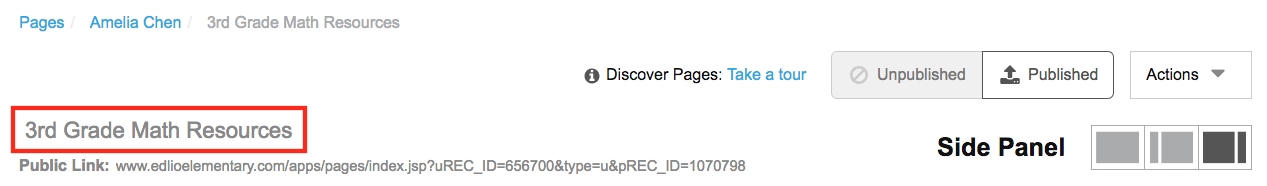 location of page title in Pages