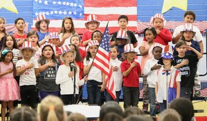Students saying the Pledge of Allegiance