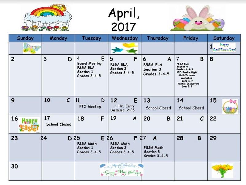 West Side April Calendar for 2017