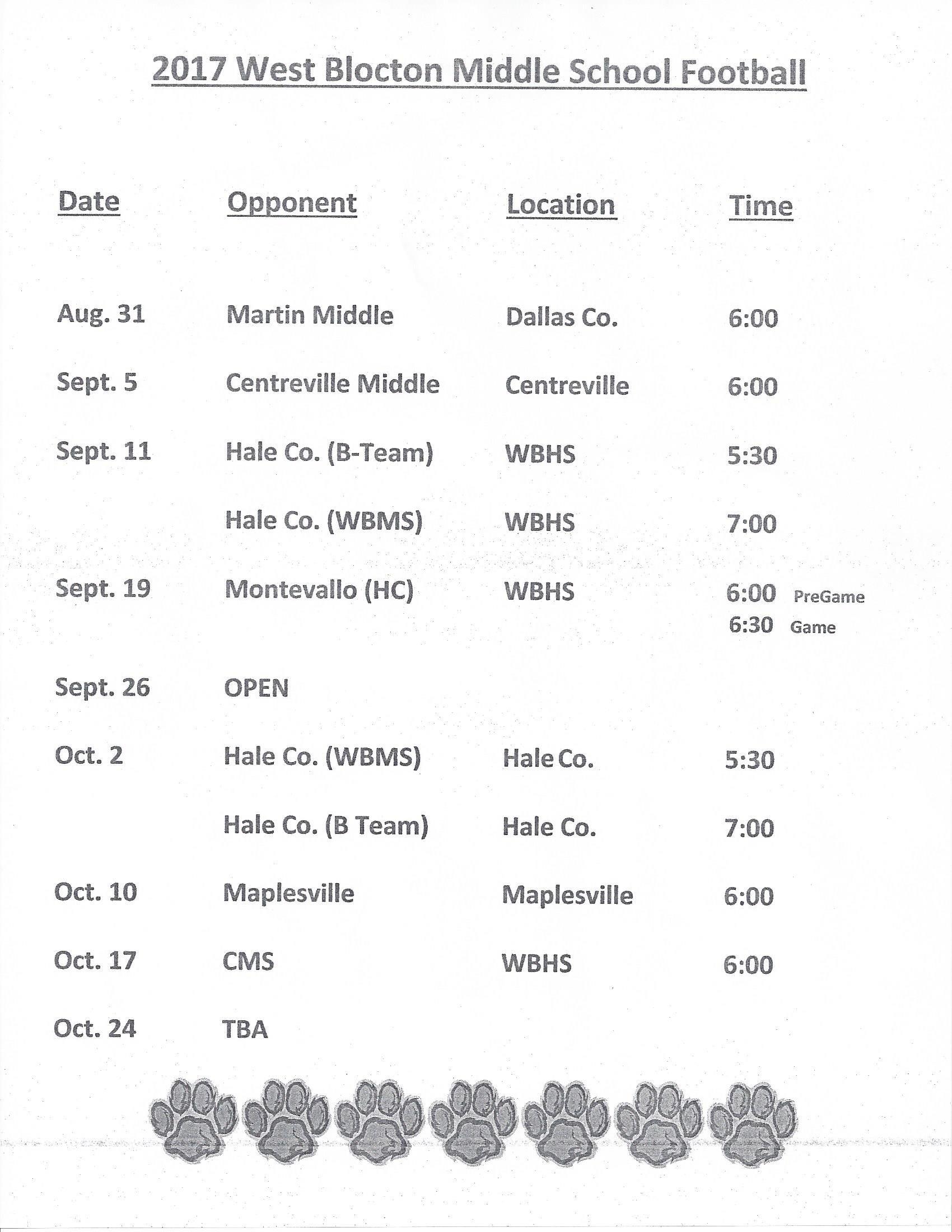 2017 WBMS Football Schedule
