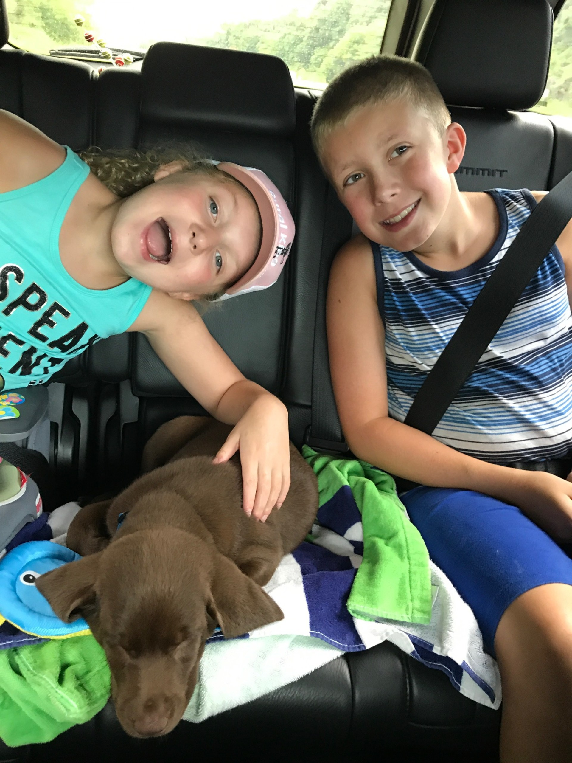 Mrs. McWilliams children with their puppy Scout.
