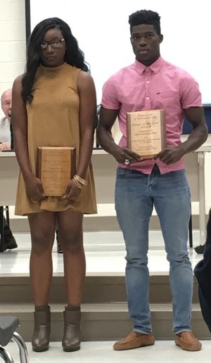 Bianca Wallace and David Allen receive awards as the top athlete at Central High.