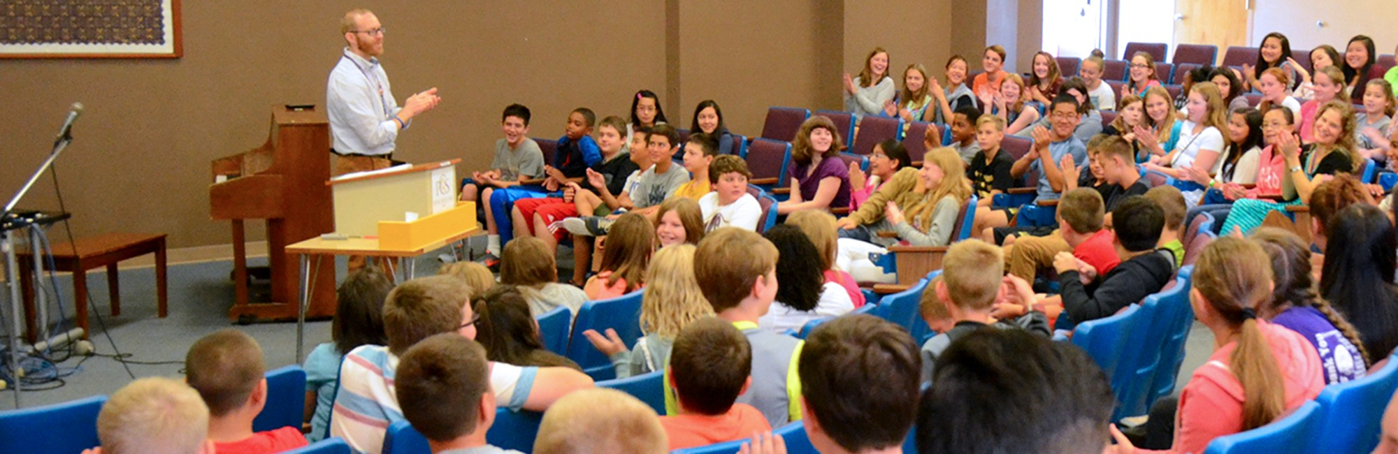 Junior high chapel in the lecture hall