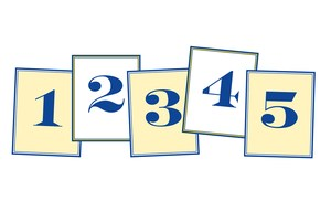 Five rectangles each with a different number... 1, 2, 3, 4 and 5
