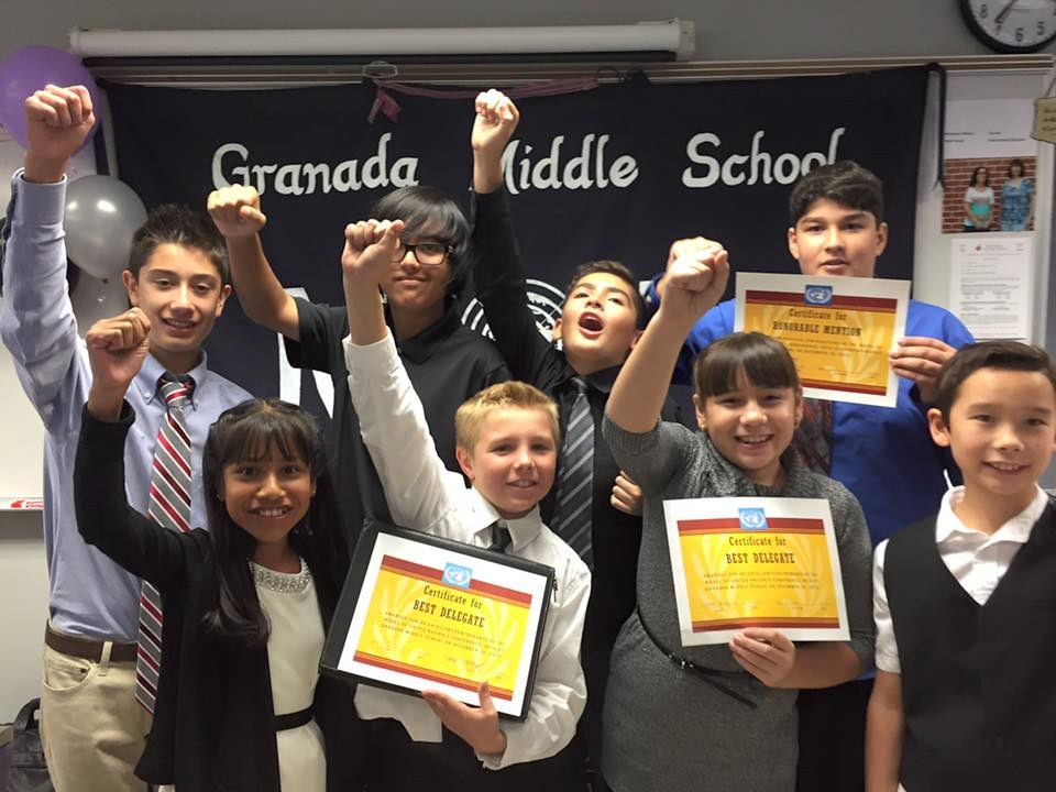 Granada Middle School students displaying their awards