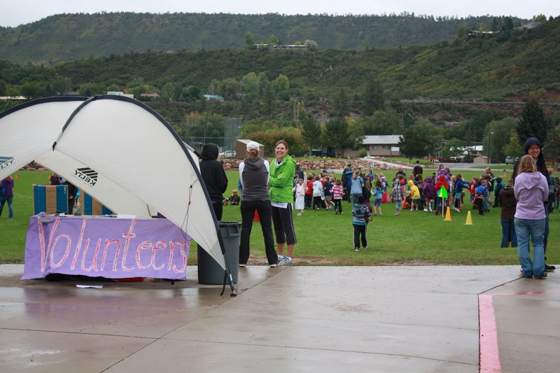Volunteers look on at the Riverview Fun Run.
