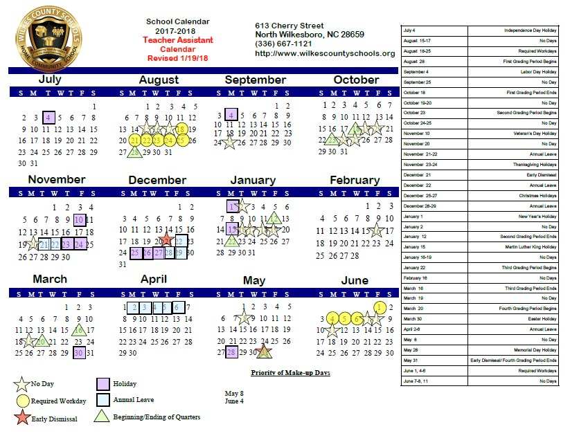 2017-18 Teacher Assistant Calendar (Revised 1/19/18)