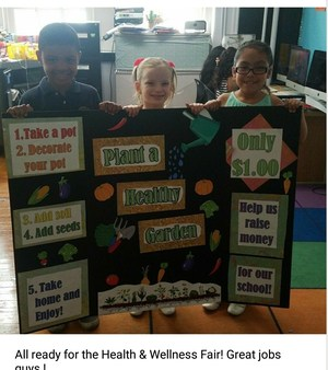 students project board for the health fair