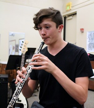 Blake Mazurowski on his oboe