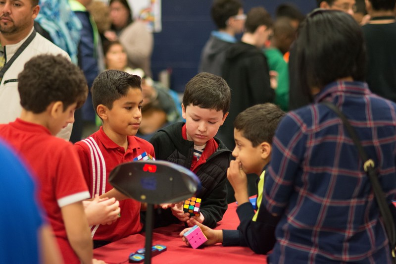students working on their rubik's cube