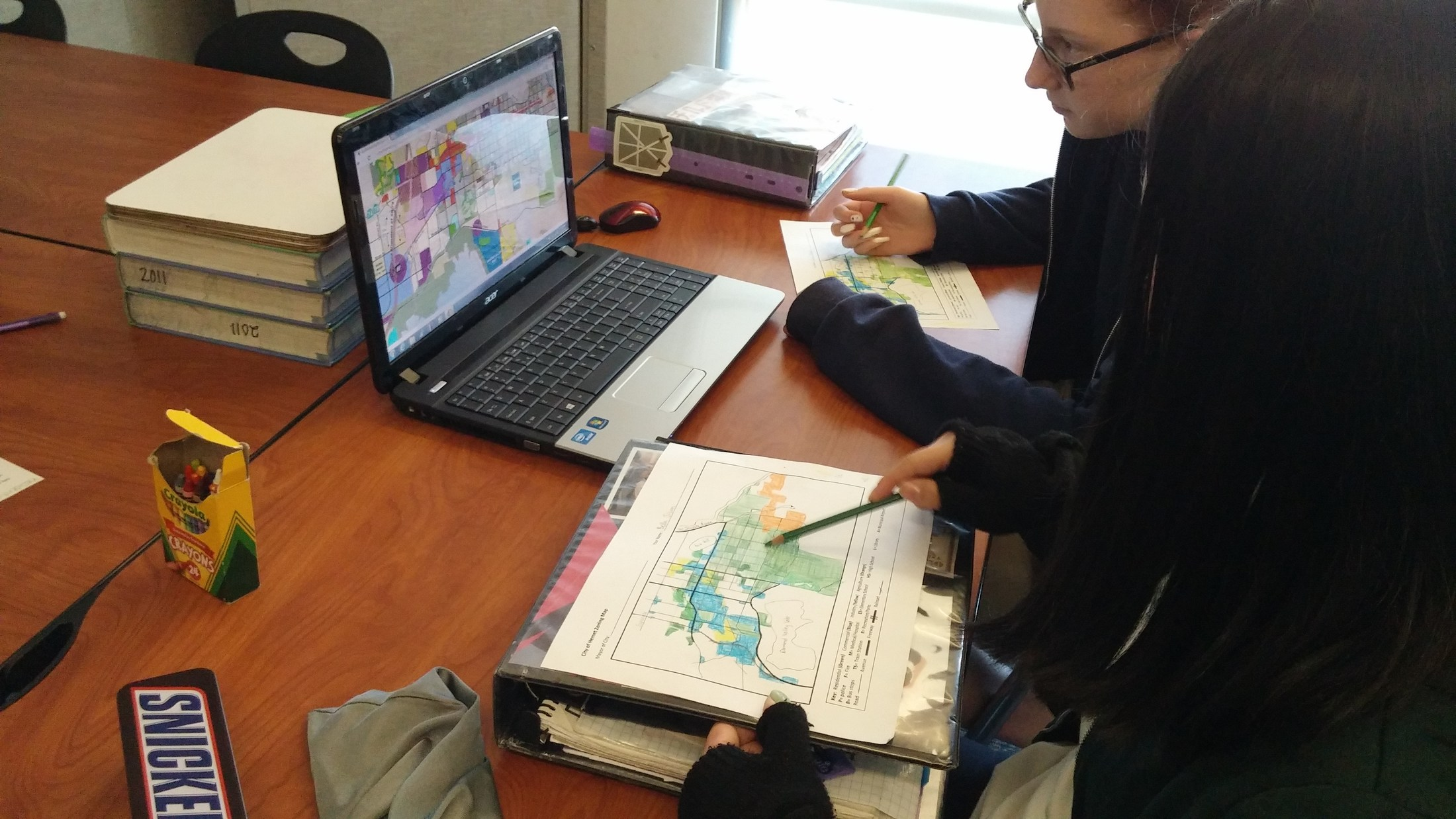 Civil engineering students looking at Hemet's General Land Use Map
