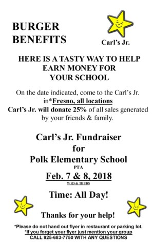 Carl's Jr. Polk Fundraiser Flier
