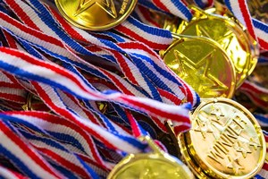 pile of gold medals