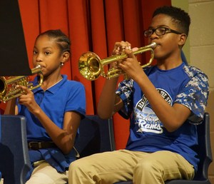 Malaniah Morris and Tyler Wesley on trumpets.