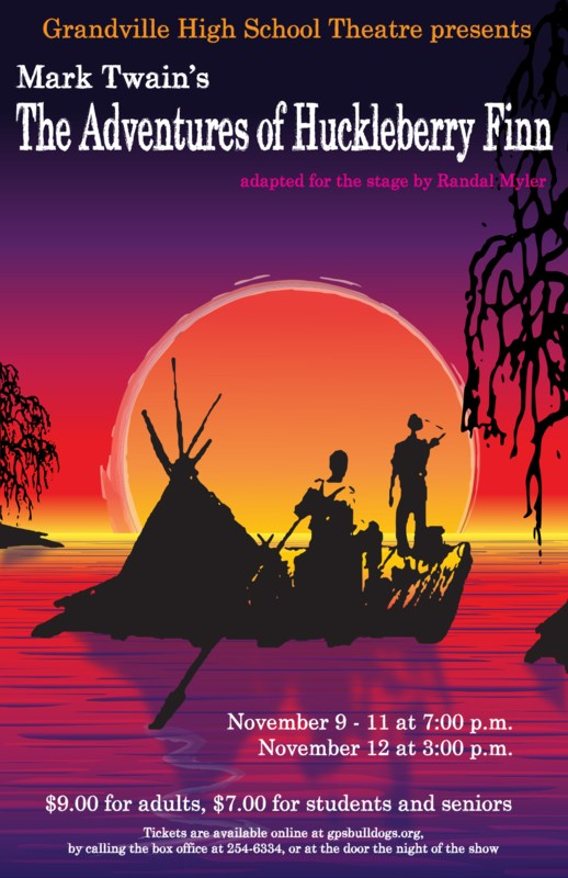 poster ad for Huck Finn with purple background and two boys rowing in the sunset on the water as in the classic book cover
