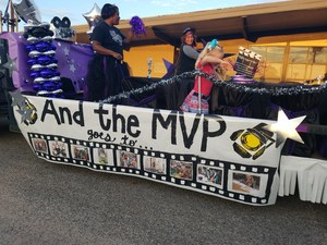 Side view of Cannan float with Mrs. Good.