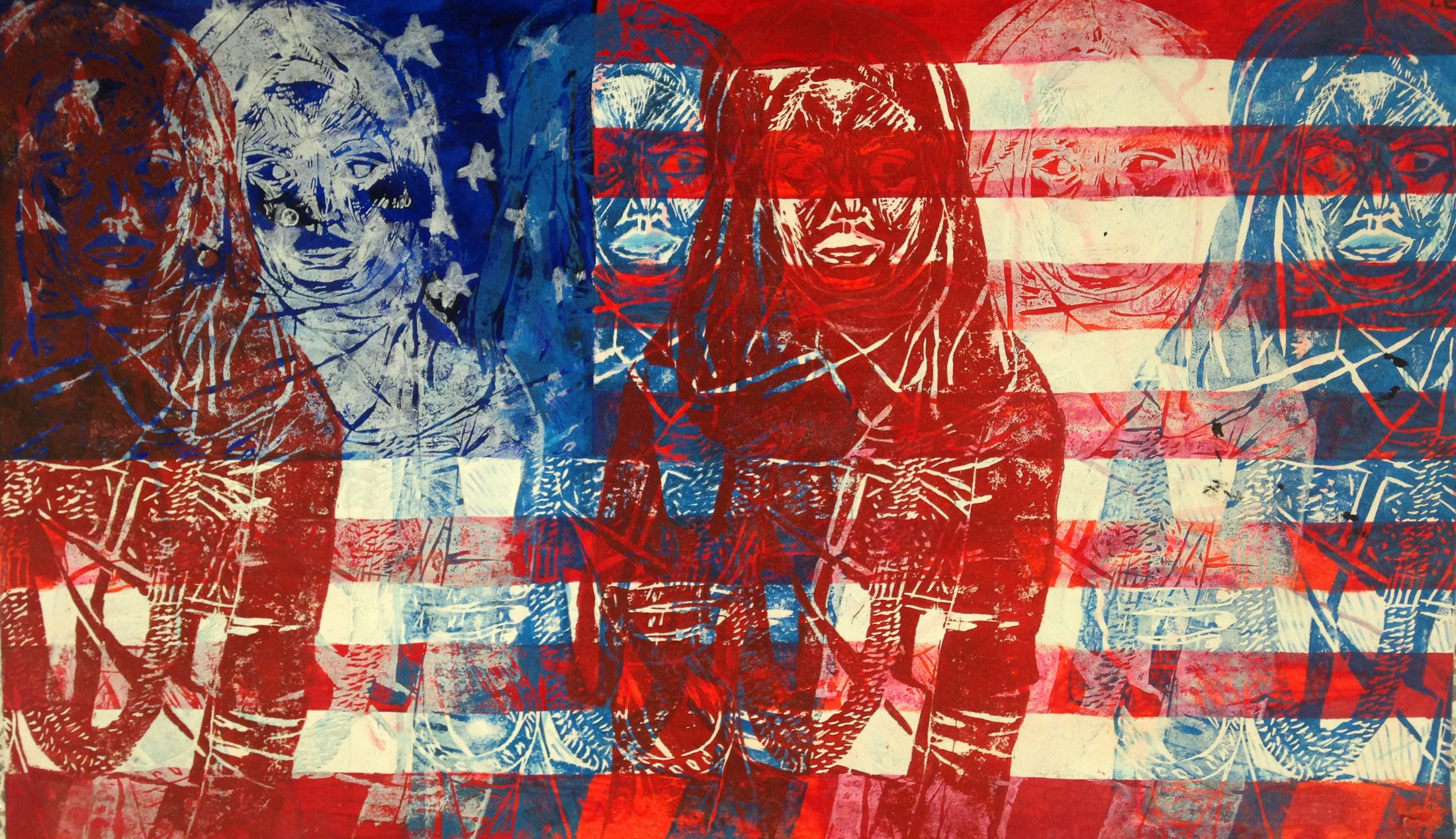 painting of american flag and woman