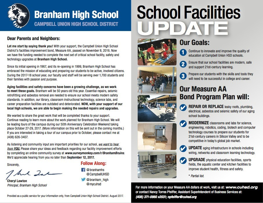 Branham High School facility, safety, and technology upgrades mailer
