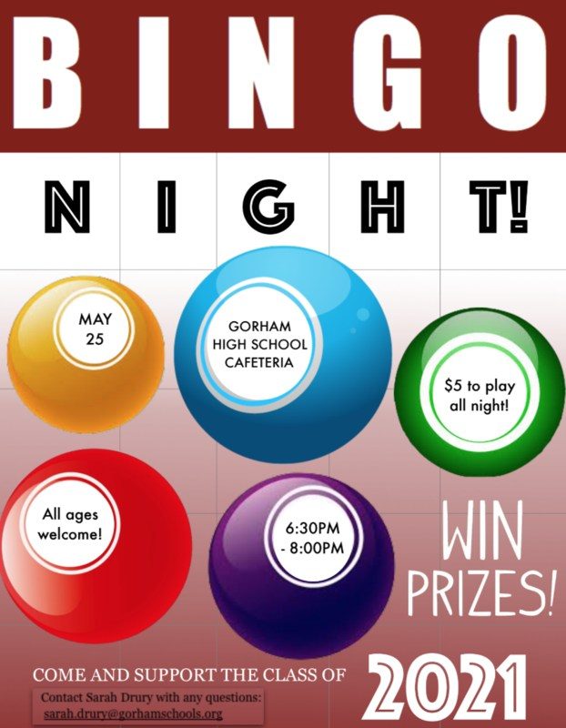 Check out BINGO NIGHT at GHS  May 25   6:30 to 8:00 PM   GHS Cafeteria  See the flyer! Thumbnail Image