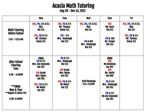 Schedule of Math Tutoring