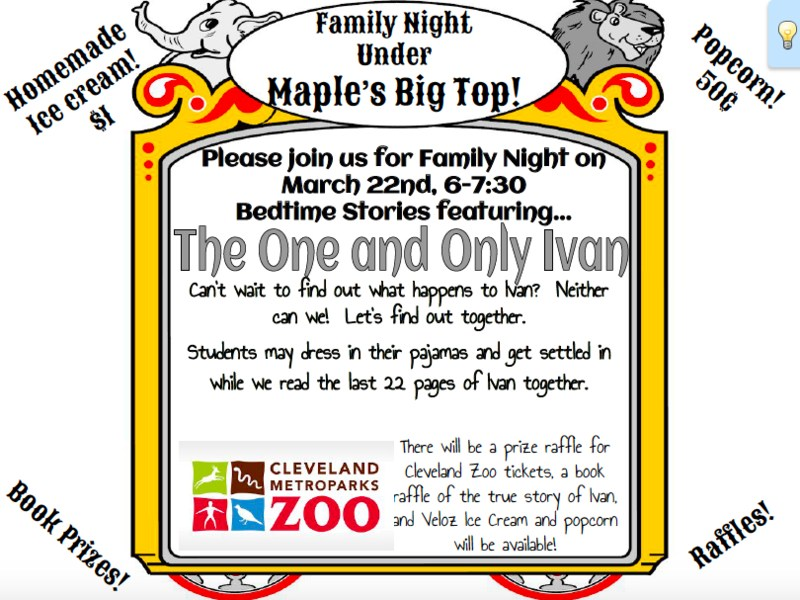 One School, One Book Family Literacy Night Thumbnail Image