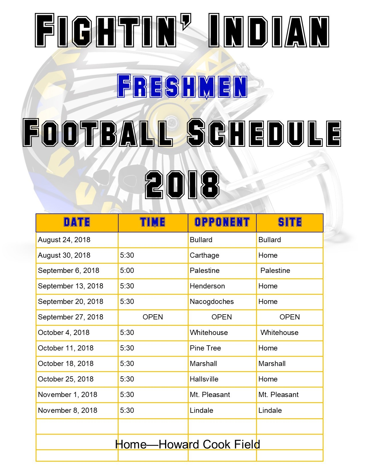 Freshman football schedule with a helmet in the background