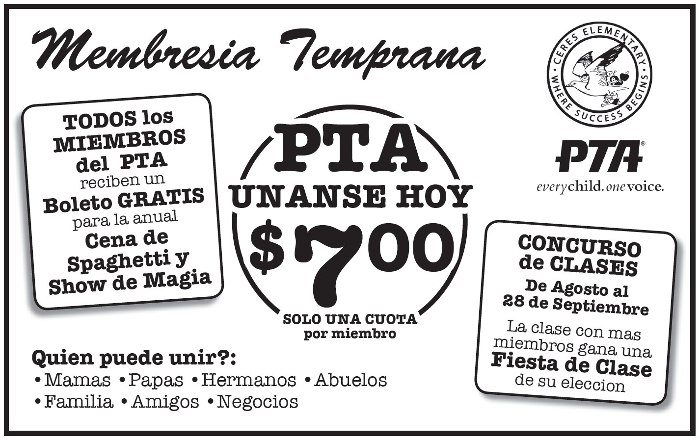 Early Bird PTA Membership flyer spanish
