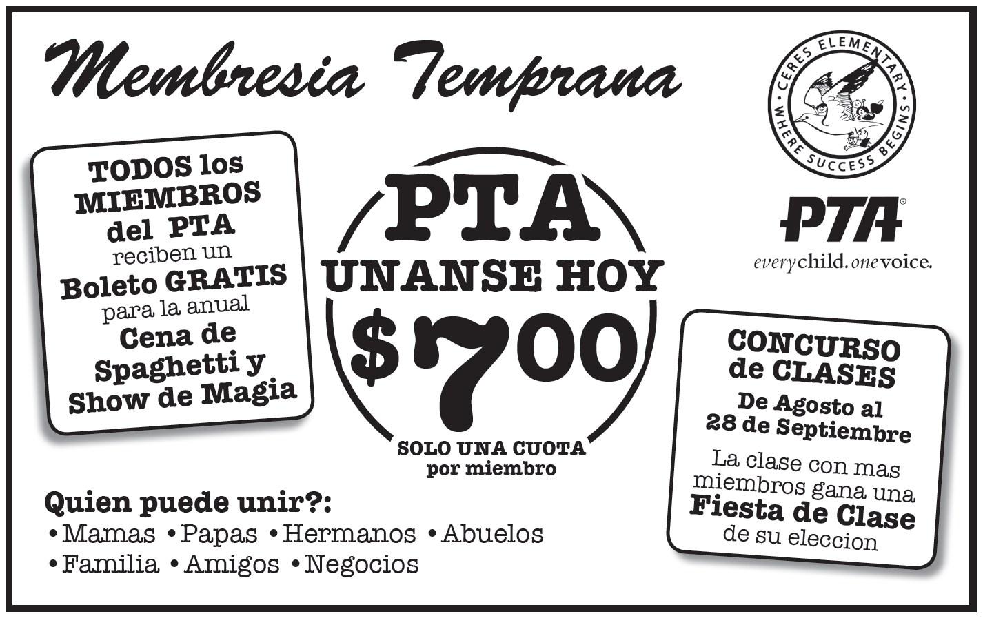 Early Bird PTA Membership flyer spanish