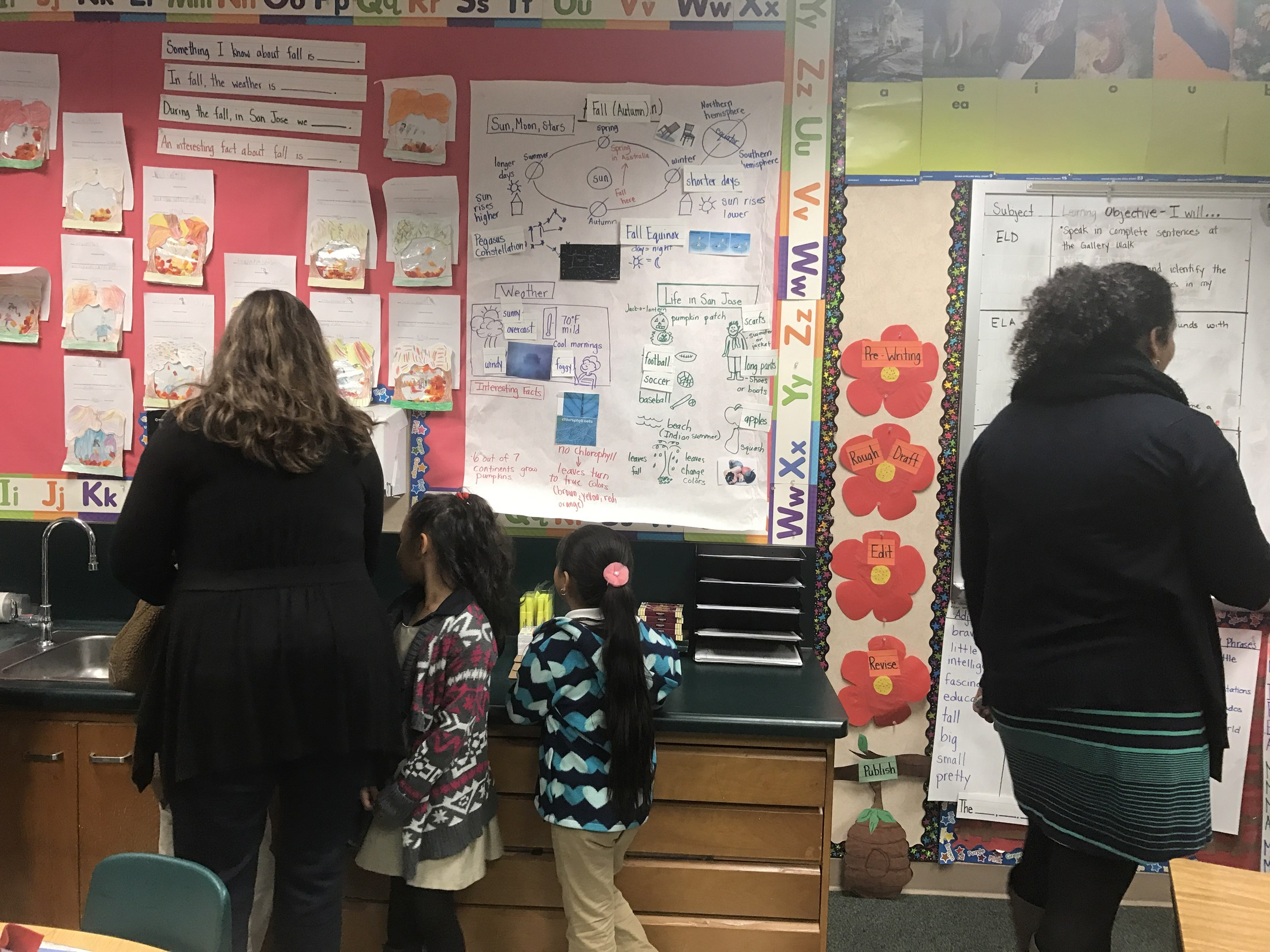 Mrs. Kimberly talks to students during a gallery walk.