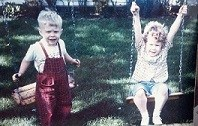 My brother Bob and Myself on the swings
