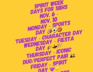 Spirit week schedule