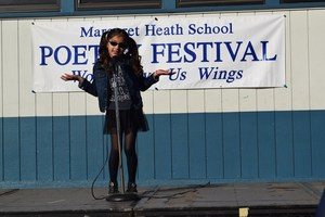 Students at Margaret Heath Elementary School in Baldwin Park recite poems they memorized or wrote during the school's annual poetry fest. Teachers chose three students from each grade to perform after classroom competitions.
