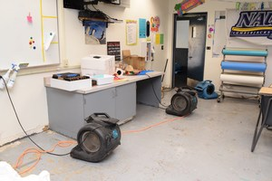Blowers in classroom after vandals flood building