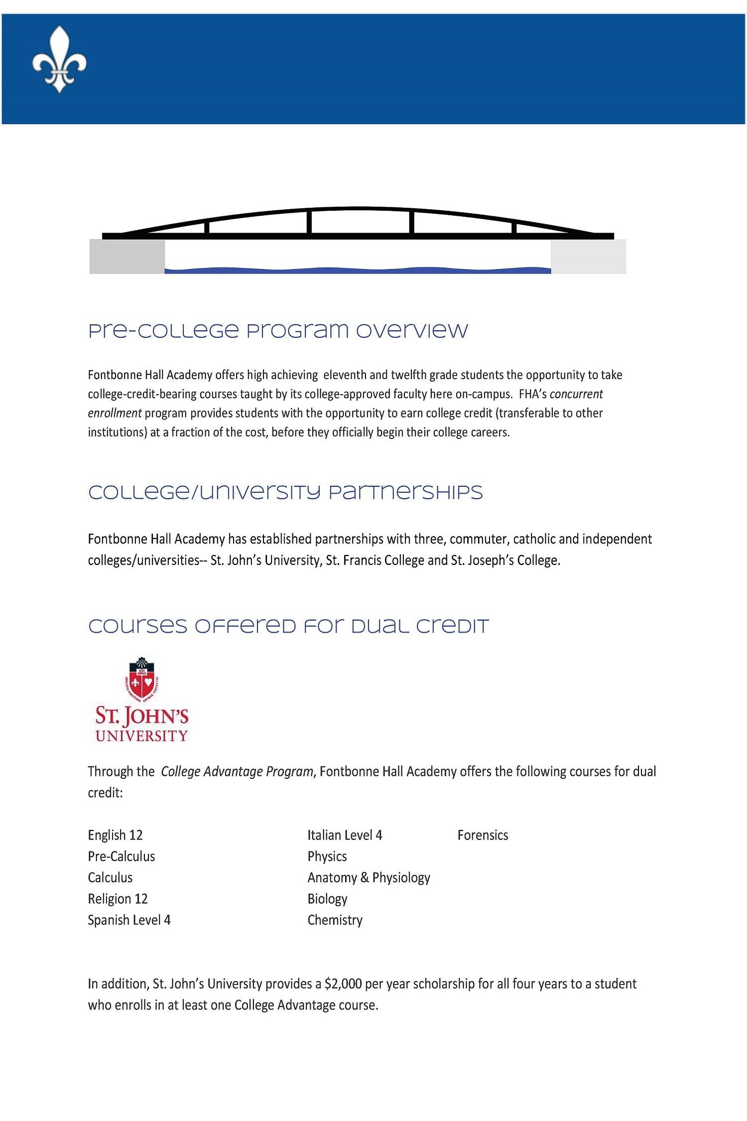 College Bridge Programs – Academics – Fontbonne Hall Academy