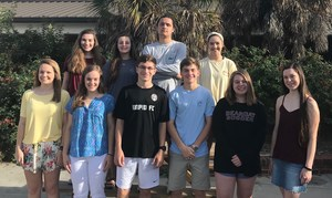 Bottom left, Jade Watford, Claire Fingerlin, Caleb Hunnicutt, Adam Fingerlin, Carli Baker (alternate), Megan Peachey (alternate); top left, Erin FitzGerald, Reid Riddle, Jackson Marcum, Mary Shaffer (alternate)