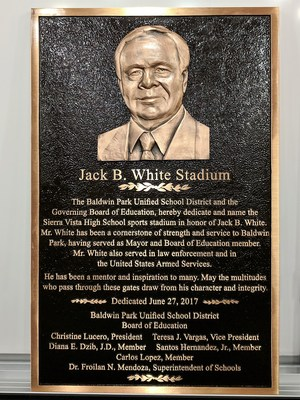 Baldwin Park Unified dedicated Sierra Vista High School's stadium to long-time board member Jack B. White on Sept. 22.