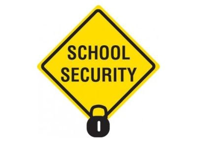 yellow shape with black letters saying school security