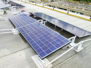View of solar panels installed on roof