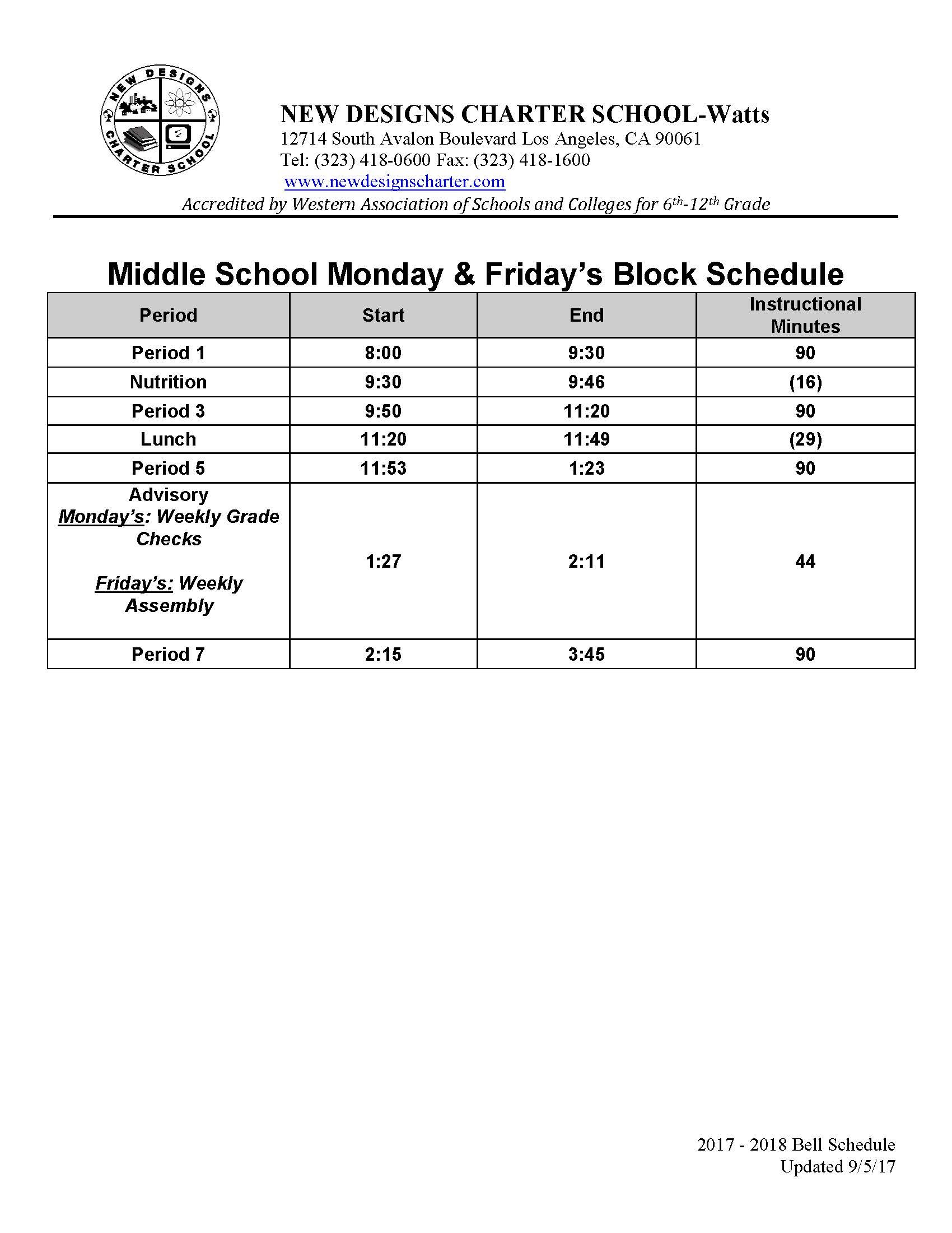 bell schedules for middle school academics new designs charter