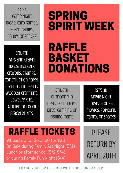 Spring Spirit Week Raffle Basket Donations