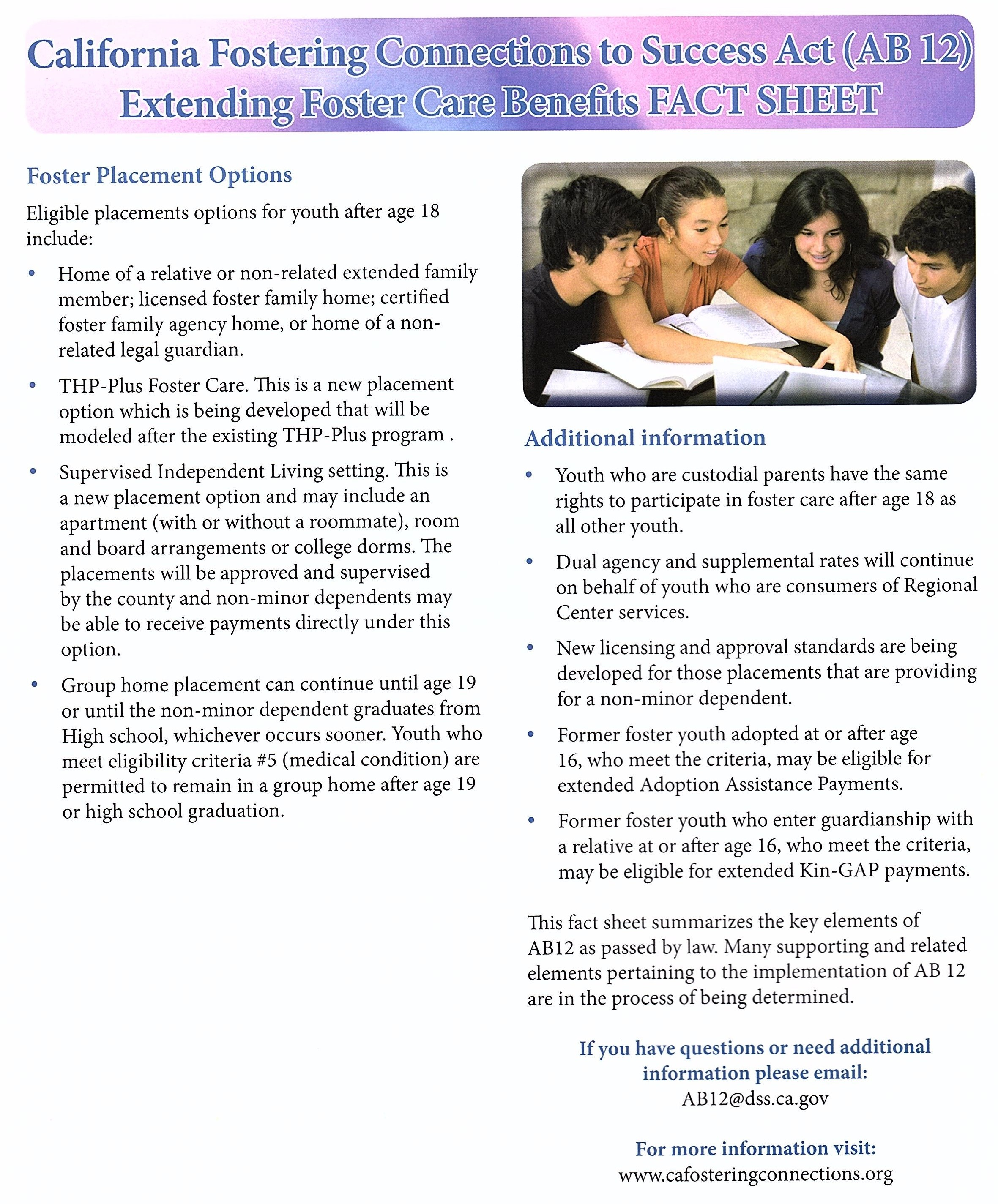 ab transition services for aging out foster youth foster ab 12 fact sheet manual