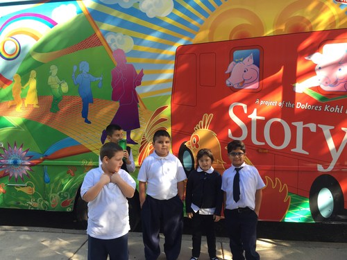 Students in Room 107 ready to enter the Story Bus