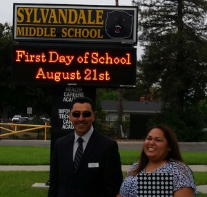 Superintendent and Sylvandale Principal on First Day of School