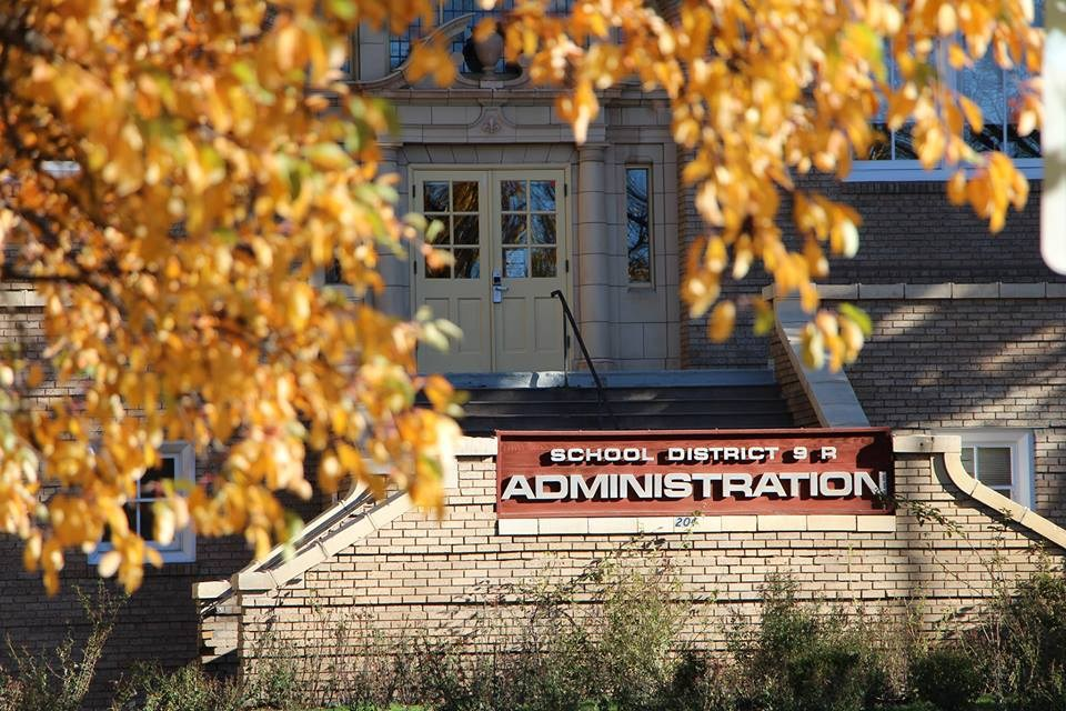 Administration building in autumn.